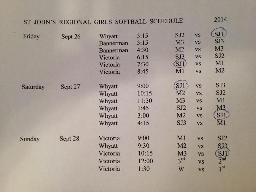 Girls HS Softball Regional Schedule